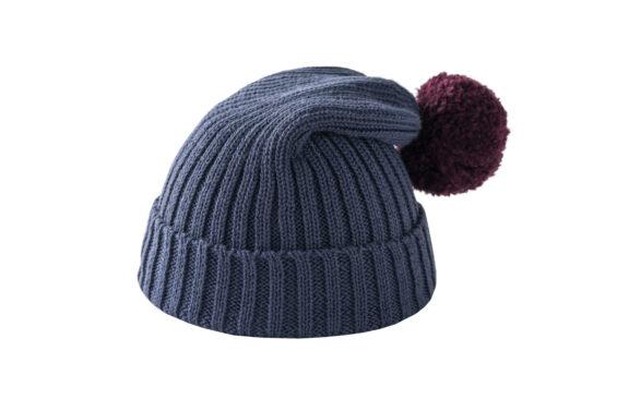 Granatowa czapka z bordowym pomponem