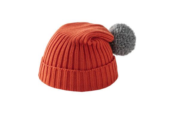 Pomarańczowa czapka z szarym pomponem