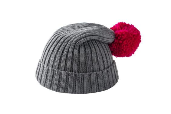 Szara czapka z różowym pomponem